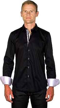 Ugholin - Camisa Casual Negra Algodón de Manga Larga para Hombre: Amazon.es: Ropa y accesorios