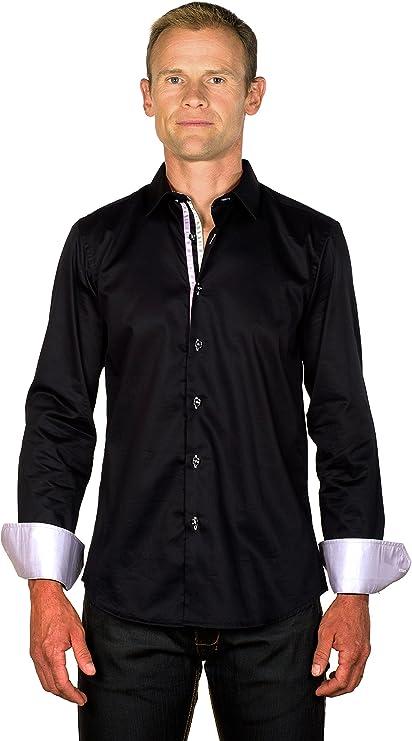 Ugholin - Camisa Casual Negra Algodón de Manga Larga para ...