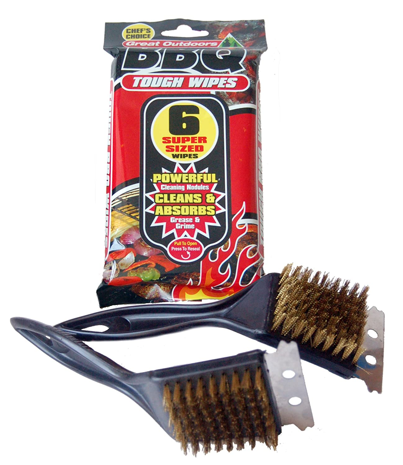 Complete BBQ Cleaning Care Kit, 2 x Barbecue Oven And Grill Metal Wire Cleaning Brush Scraper Tool, And 6 x Extra Tough Heavy Duty Disposable BBQ Absorbent Wipes BBQ King