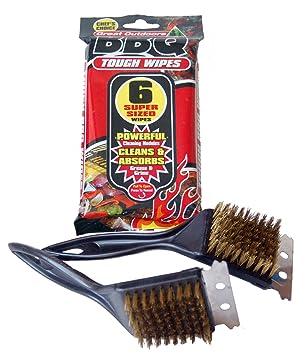 Kit para limpiar la barbacoa: 2 herramientas para cepillar el horno y las barras de metal y 6 toallitas abosorbentes extraresistentes: Amazon.es: Jardín