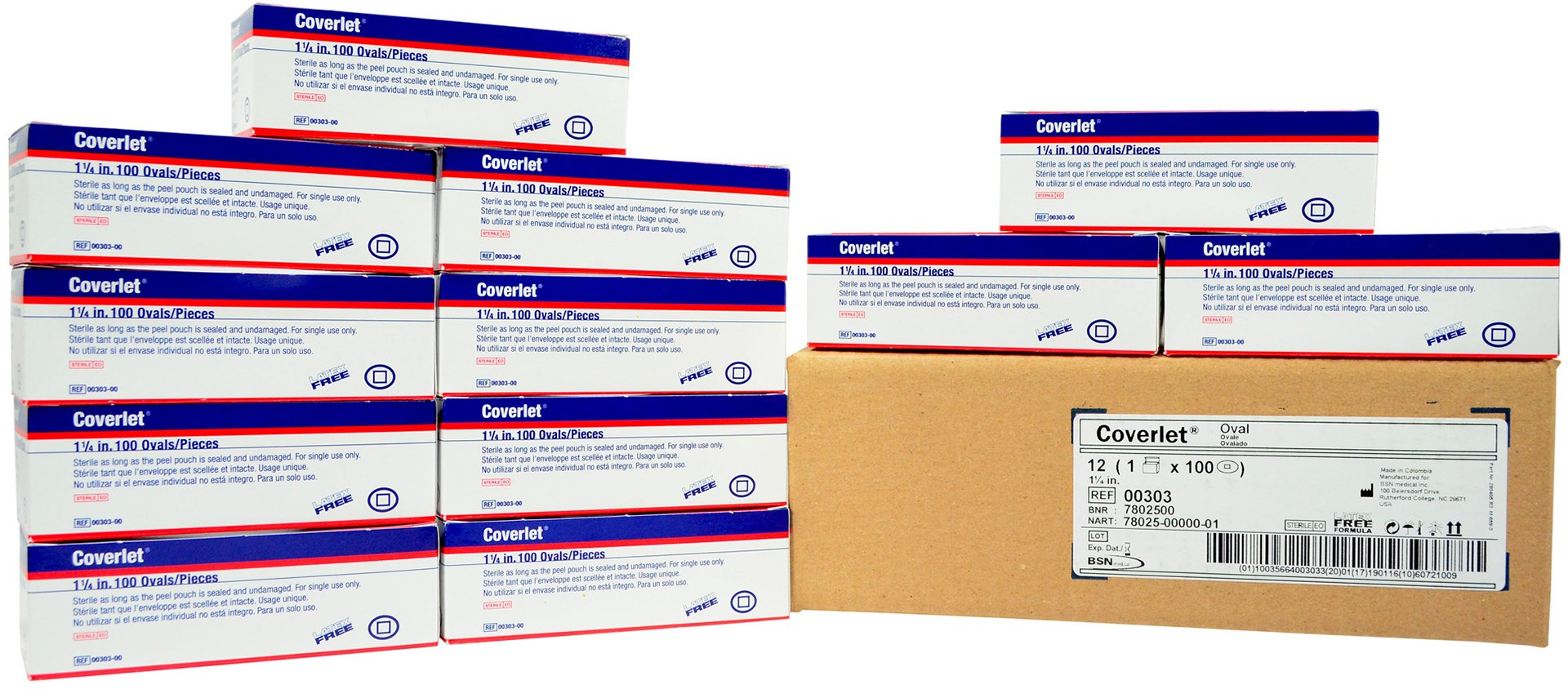 Coverlet Adhesive Fabric Bandage - Oval Spot - 1 1/4'' - 12 Boxes of 100
