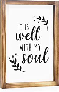 It Is Well With My Soul Sign - Rustic Farmhouse Decor For The Home Sign - Wall Decorations For Living Room, Modern Farmhouse Wall Decor, Rustic Home Decor Sign With Solid Wood Frame - 11x16 Inch