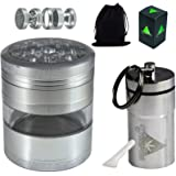 Cool Weed Crusher Set for Herbs and Tobacco: Large, 4pc, 3.25 inches Tall, Metal Grinder with Kief Catcher and Airtight Container, Smell Proof,Silver by Green-Der