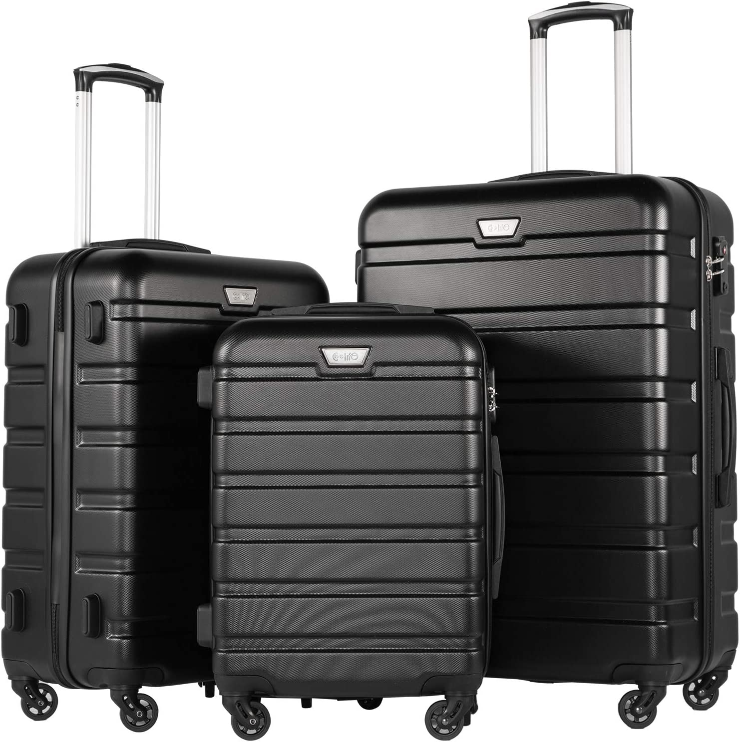 COOLIFE Suitcase Trolley Carry On Hand Cabin Luggage Hard Shell Travel Bag Lightweight 2 Year Warranty Durable 4 Spinner Wheels (Black, 3 Pcs Set)
