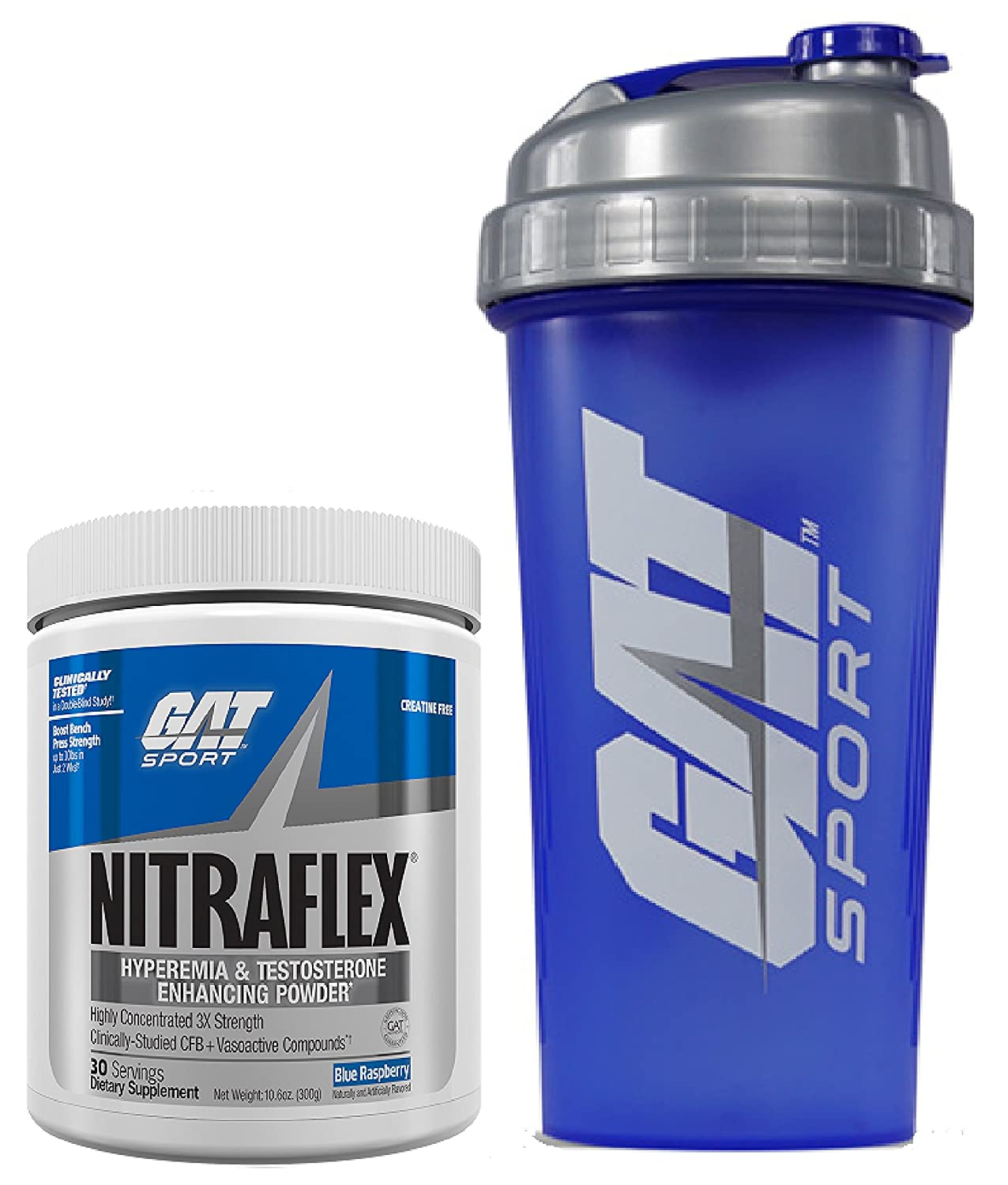 GAT Clinically Tested Nitraflex, Testosterone Enhancing Pre Workout 300 g 30 servings with BONUS GAT Shaker Bottle Blue Raspberry