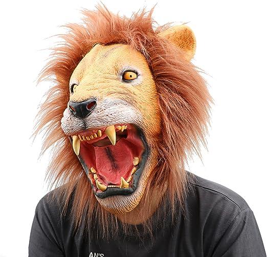 Mono Cabeza de León de goma de látex máscara disfraz de Halloween ...