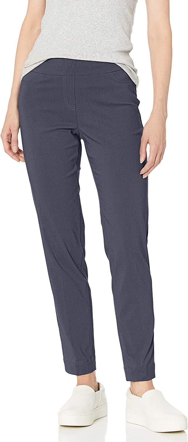 SLIM-SATION Womens Wide Band Pull on Ankle Pant with Tummy Control