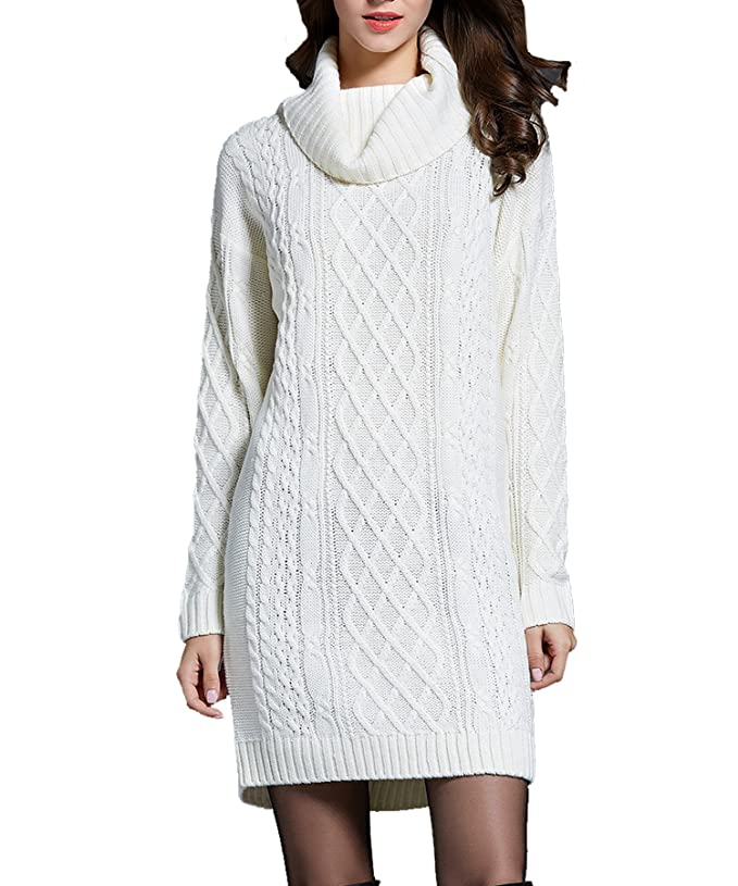BOBIBI Cowl Neck / Turtleneck Sweater Dress Women | Womens White Sweater Dress
