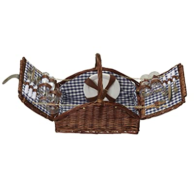 Household Essentials Woven Willow Picnic Basket, Square Shaped, Fully Lined, Service for 4: Home & Kitchen