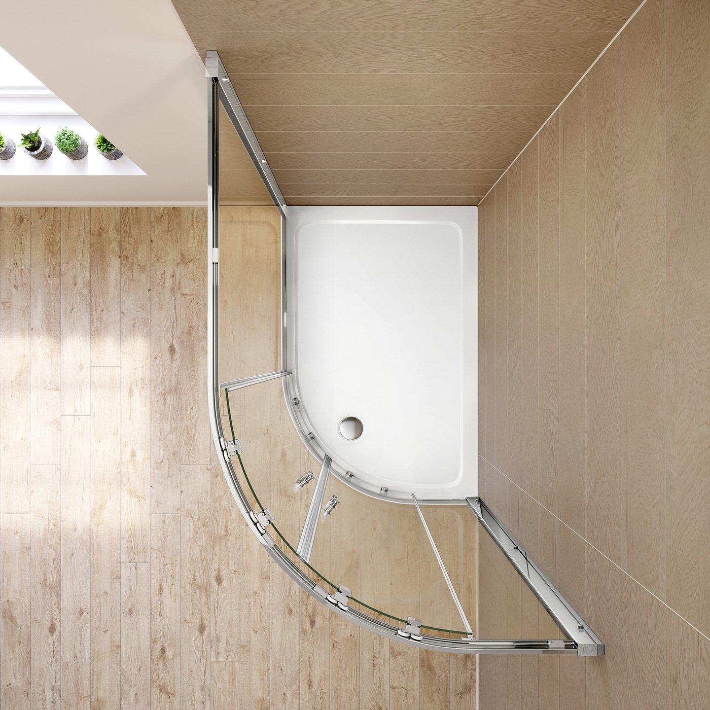 iBathUK 1200 x 800 Quadrant 6mm Thick Sliding Glass Shower Enclosure Reversible Cubicle Door