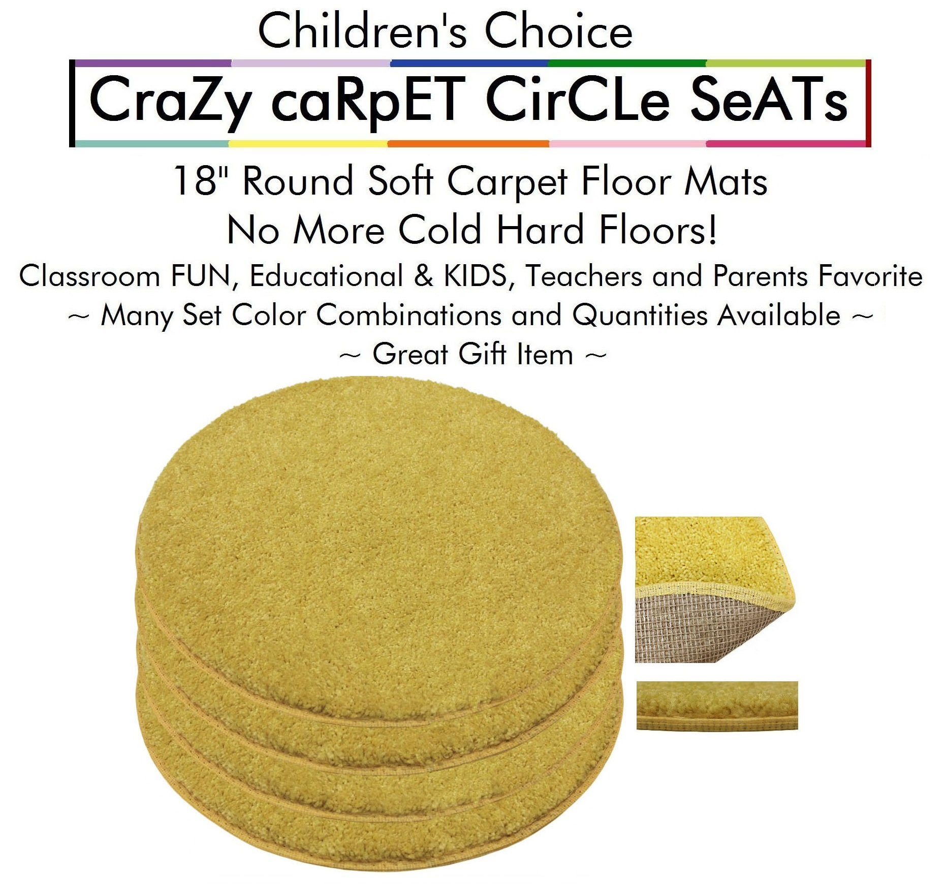 "Set 4 - Sunny Side Up Kids CraZy CarPet CirCle SeaTs 18"" Round Soft Warm Floor Mat - Cushions 