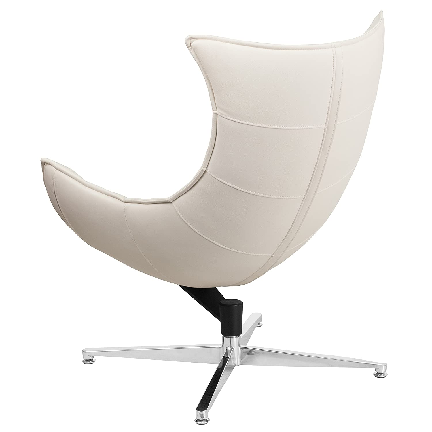 Amazon Flash Furniture White Leather Swivel Cocoon Chair