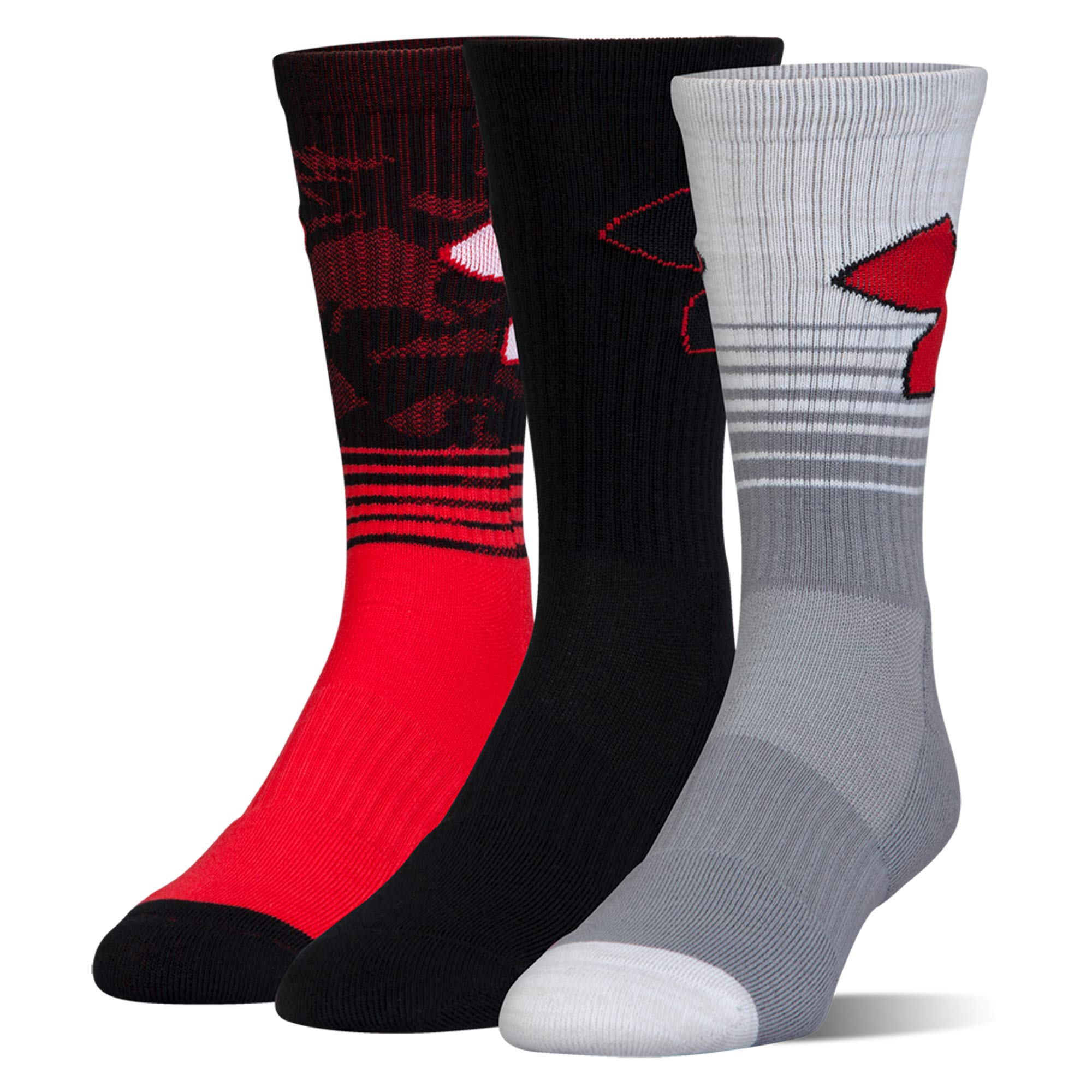 Boy's Under Armour Boys Phenom 2.0 Crew (3 Pack), Red, Youth Large by Under Armour