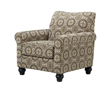 Ashley Furniture Signature Design   Breville Accents Side Chair    Traditional Style Accent Chair   Burlap