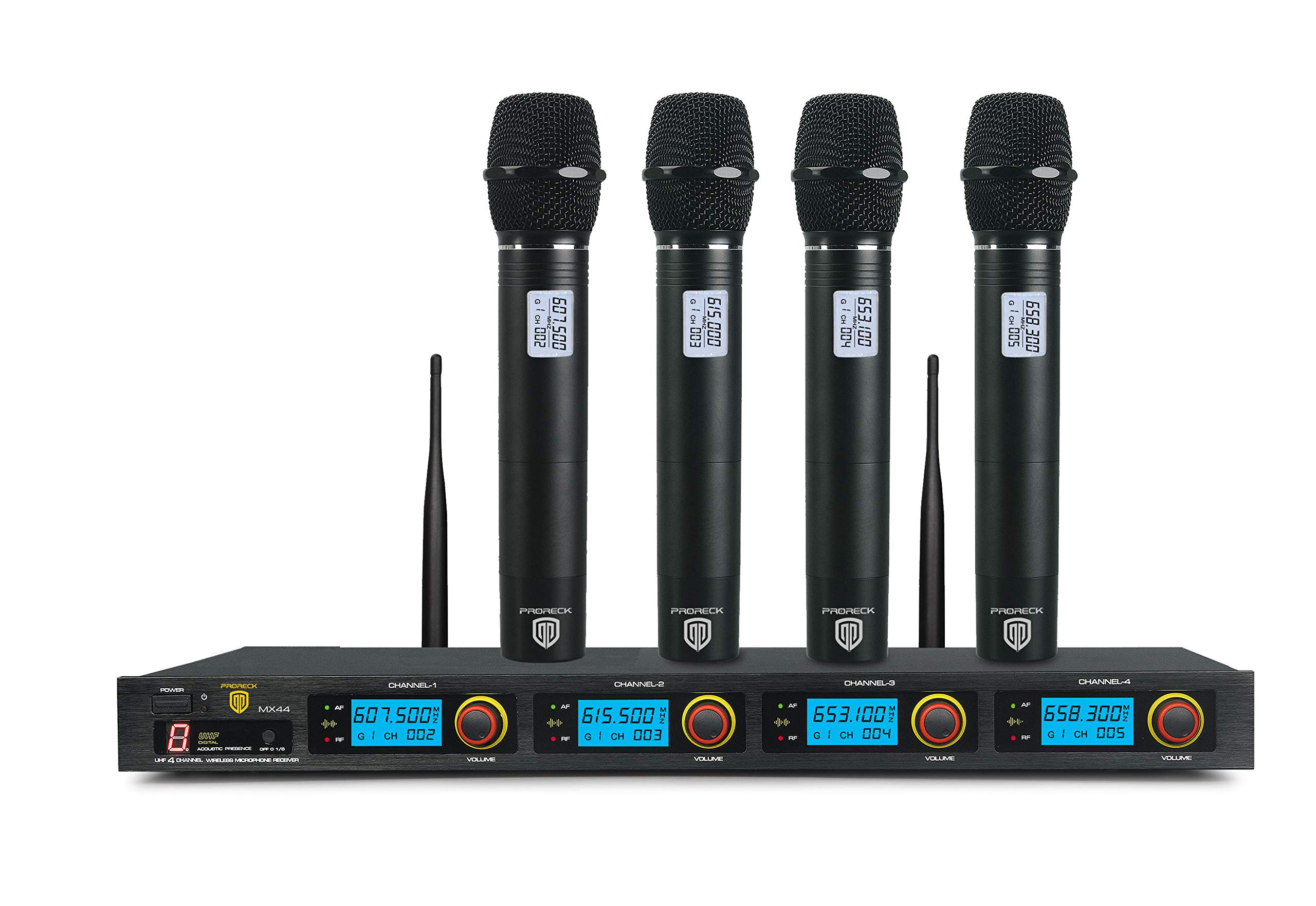 PRORECK MX44 4-Channel UHF Wireless Microphone System with 4 Hand-held Microphones Karaoke Machine for Party/Wedding/Church/Conference/Speech by PRORECK