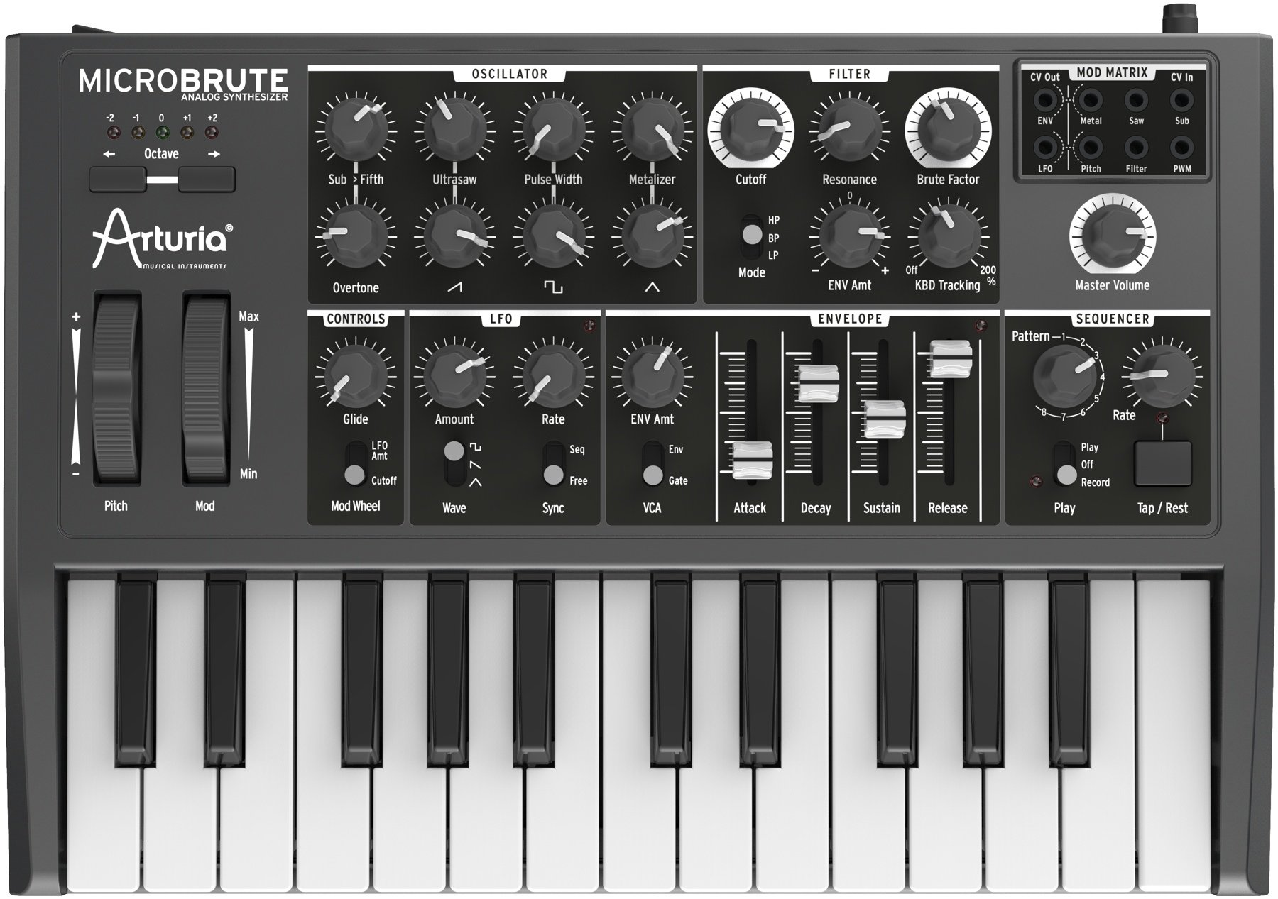 Arturia MICROBRUTE Analog Synthesizer w/ Pig Hog PH10 Instrument Cable - Bundle by Arturia (Image #2)