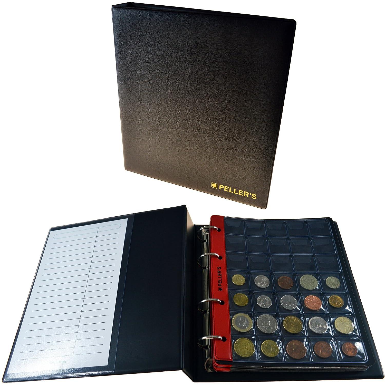 Álbum de monedas para 275 monedas (tipo M Álbum). 5+5 hojas con 100 compartimentos 35x40mm y 175 compartimentos 27x27mm. Ideal para monedas de euro y otros.