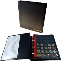 Album pour 186 monnaies (classeur M). 10 feuilles, Mix pochettes 27mm x 27mm, 35mm x 40mm, 46mm x 50mm, 68mm x 72mm. Idéal pour les pièces de différentes diamètre.