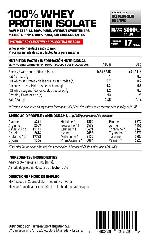 HSN Raw - Proteína Aislada de Suero Lácteo (100% Whey Protein Isolate) - En Polvo - Sabor Neutro - 500 gr