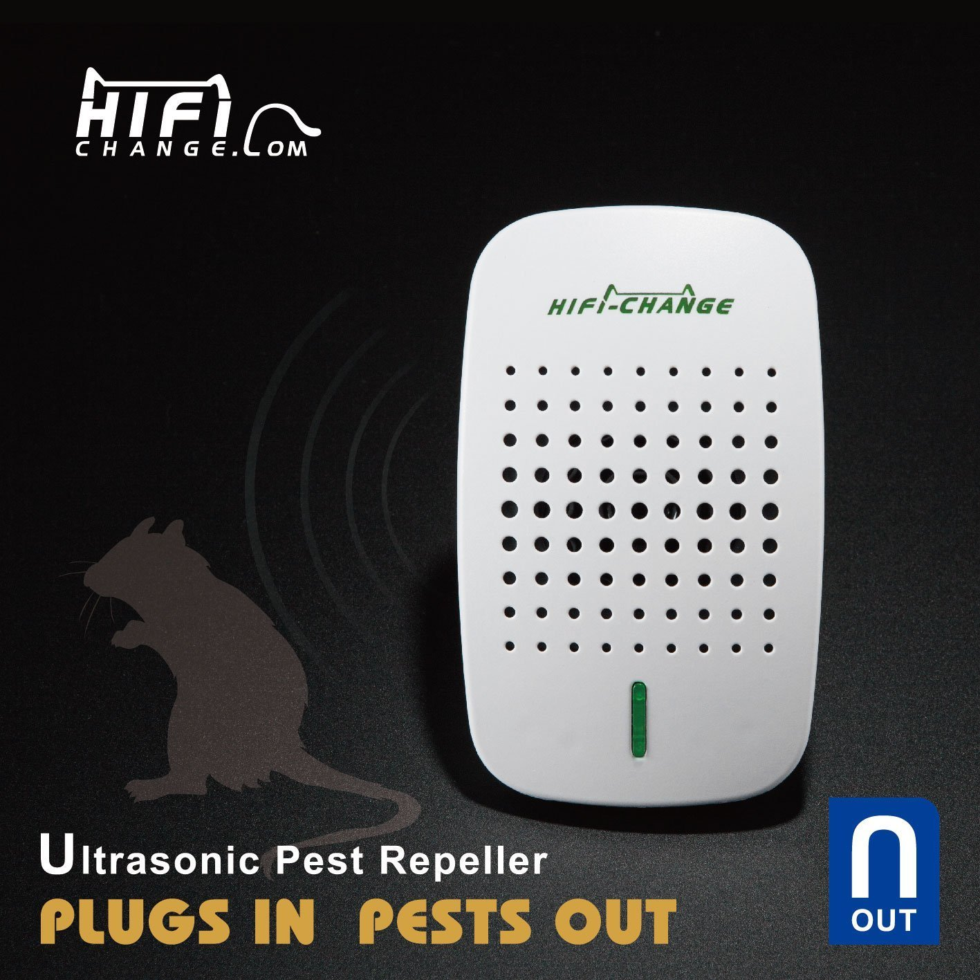 The NEW Ultrasonic pest repeller by Hi-Fi Change | Electronic RODENT & INSECT REPELLER that WORKS - You plug it in, the pests get out - UK Plug KOEPUO