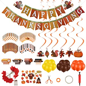 Fukep Thanksgiving Balloons Banner Fall Party Decorations for Home Fall Festival Party Including 3m20 Led Leaf String Lights Fall Banner Balloons Hanging Swirls Stickers Cupcake Wrappers Tools Pack