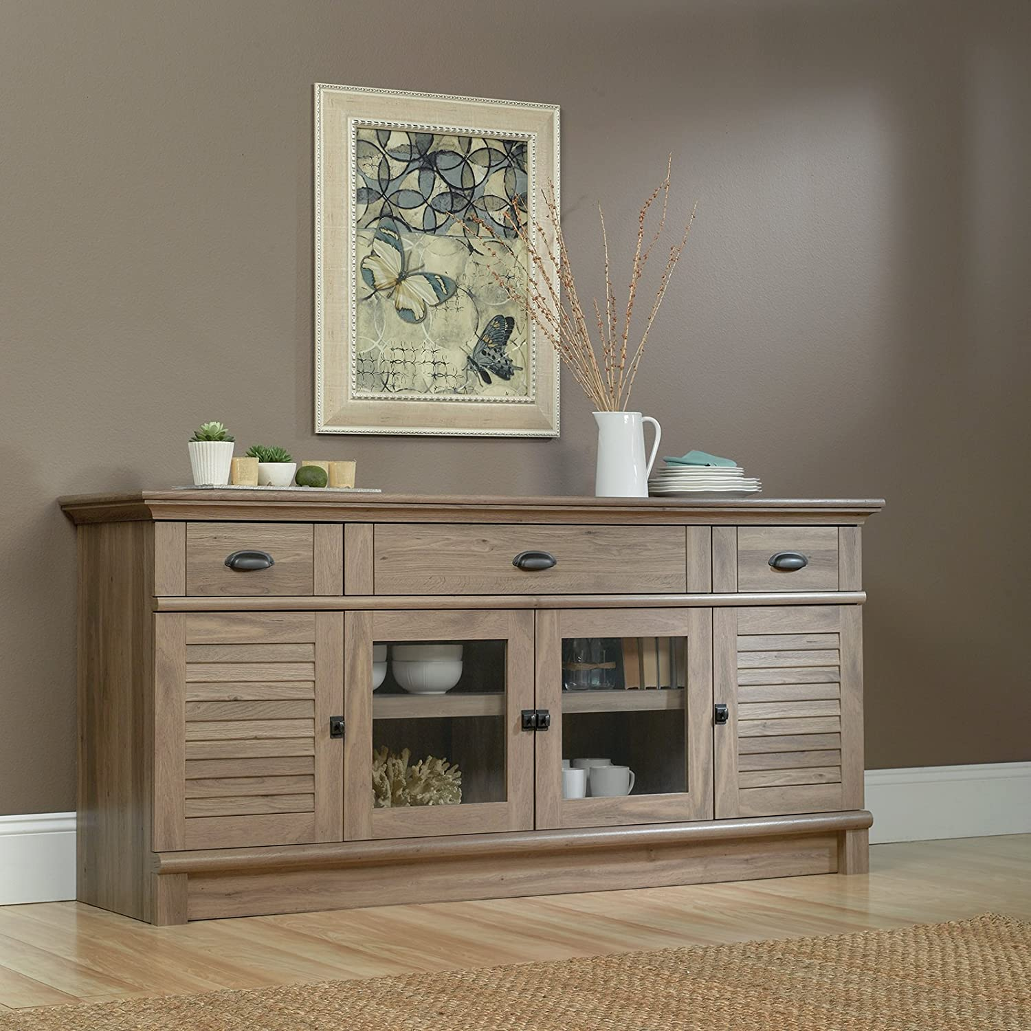 Amazon sauder 415373 salt oak finish harbor view credenza amazon sauder 415373 salt oak finish harbor view credenza kitchen dining geotapseo Image collections