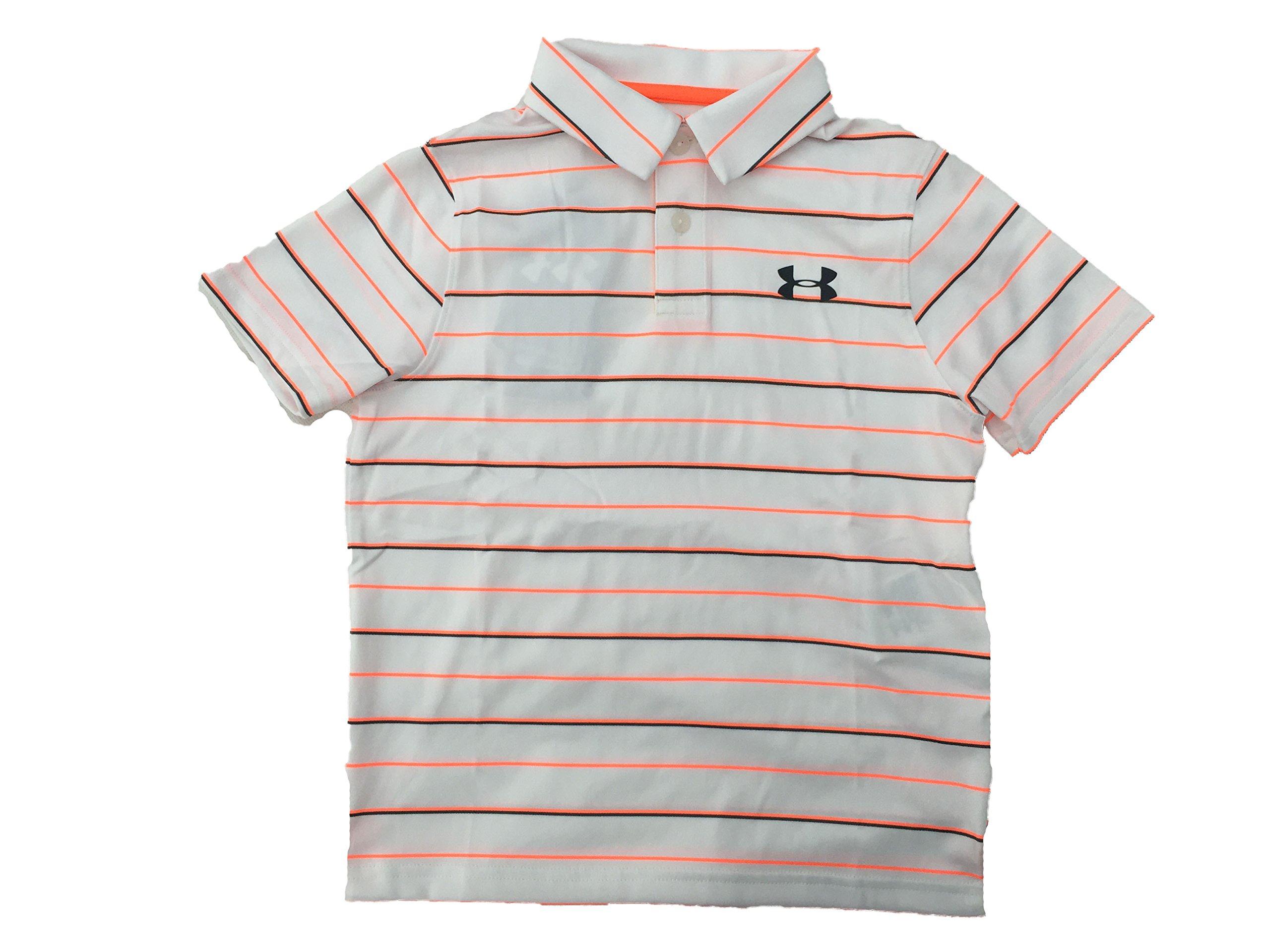 Under Armour Boy`s Threadborne Bunker Golf Polo Shirt (White(1298097-101)/Max Orange, Youth Small)
