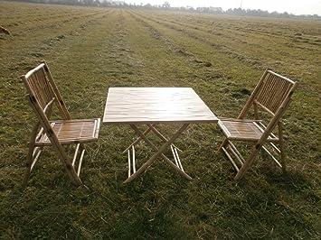Bambou salon de balcon avec 1 table et 2 chaises de jardin meubles ...