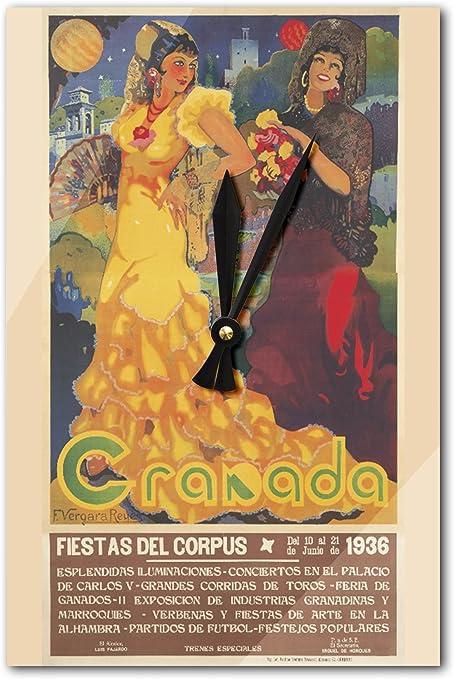 Granada Vintage Póster (artista: Reyes) España C. 1936 (acrílico reloj de pared): Amazon.es: Hogar