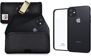 product image for Turtleback Hybrid Case/Belt Clip Combo Designed for New iPhone 11 (2019) 6.1 Inch, Anti-Scratch Ultra Clear Back Protective Case Fitted in Black Nylon Holster, Rotating Belt Clip-Horizontal/Black