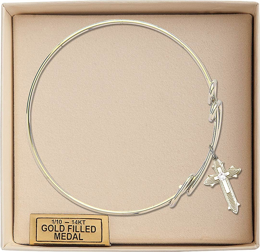 8 1//2 inch Round Double Loop Bangle Bracelet w//Cross on Cross Medal Charm w//April Crystal Swarovski Crystal