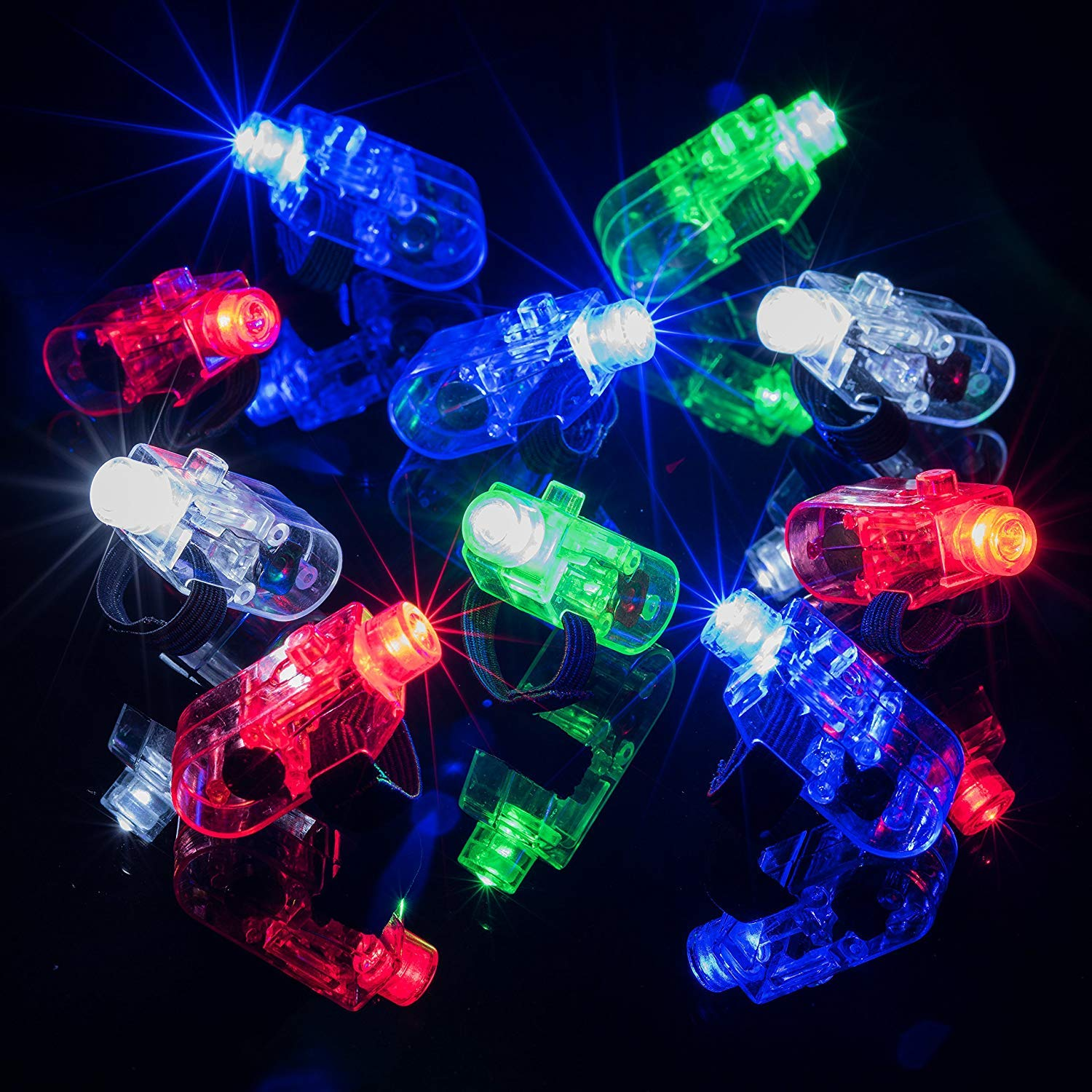 68 Pack LED Light Up Toys Halloween LED Glow Party Favors for Kids Glow in the Dark Party Supplies 4 Flashing Slotted Shades Glasses 10 Glow Rings 50 LED Finger Lights 5 LED Bracelets Christmas Gift by Godlike (Image #2)
