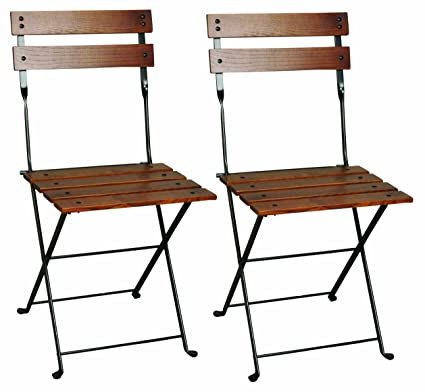 Mobel Designhaus French Café Bistro Folding Side Chair, Jet Black Frame,  European Chestnut Wood