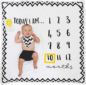 LooliBird Baby Monthly Milestone Blanket - 8 Milestone Cards Number Frame & Bib in a Gift Box - Fleece Baby Month Blanket for Baby Pictures - Baby Milestone Blanket Girl or Boy