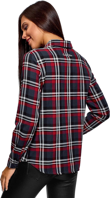 oodji Ultra Mujer Camisa a Cuadros con Bordado y Pedrer/ía en el Bolsillo