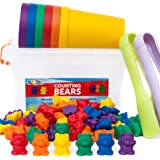 BleuZoo Rainbow Counting Bears + Activity eBook | Montessori Educational Toddler STEM Fine Motor Skills Therapy Math Sorting Preschool Learning Toys | 60 Bears, 6 Matching Cups, 2 Tweezers, Container