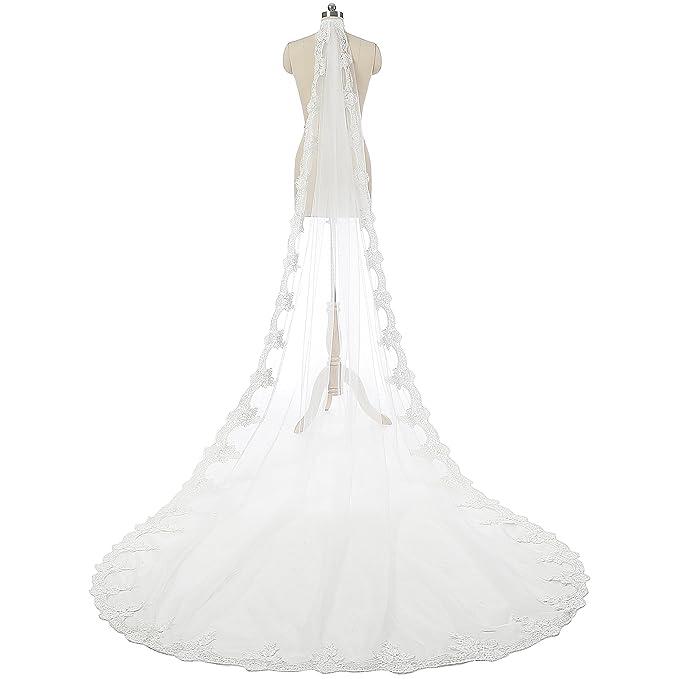 77c8499a77 Beautyprom Velo de novia largo de encaje de 1 capa blanco blanco 3 Meters   Amazon.es  Ropa y accesorios