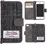 "Harris Tweed iPhone 5 5S SE Case Flip Leather Wallet Case Cover with Hiden Magnetic Clasp and Money Porket with 3 Card Slot. Retro Handmade (iPhone 5/5s/se (4.0"" ), Grey)"