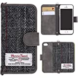 "MONOJOY Harris Tweed iPhone 5 5S SE Case Flip Leather Wallet Case Cover with Hiden Magnetic Clasp and Money Porket with 3 Card Slot. Retro Handmade (iPhone 5/5s/se (4.0""), Grey)"