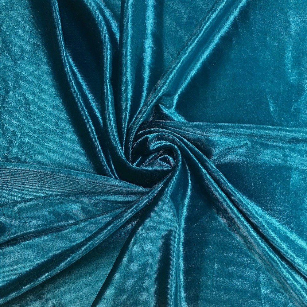 Stretch Velvet Fabric 60'' Wide by the Yard for Sewing Apparel Costumes Craft (10 YARD, Teal) by FWD (Image #1)