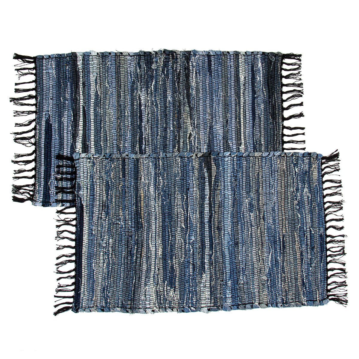 2 Denim Chindi Doorway Rag Rugs 100% Cotton Recycled Blue Jean Entryway Woven Mat Royal Collection