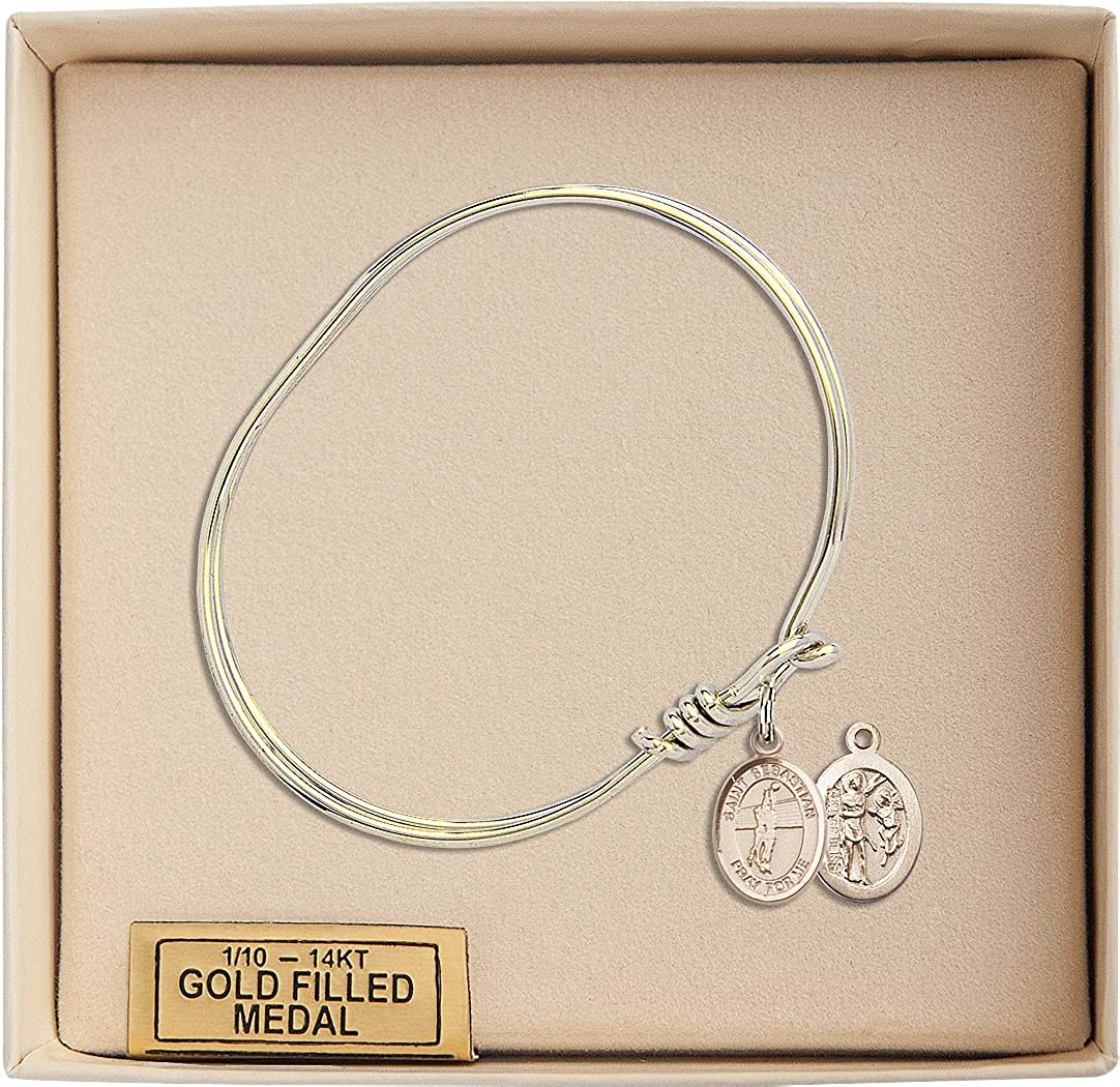 F A Dumont 5 3//4 inch Oval Eye Hook Bangle Bracelet with a St Sebastian//Volleyball Charm.