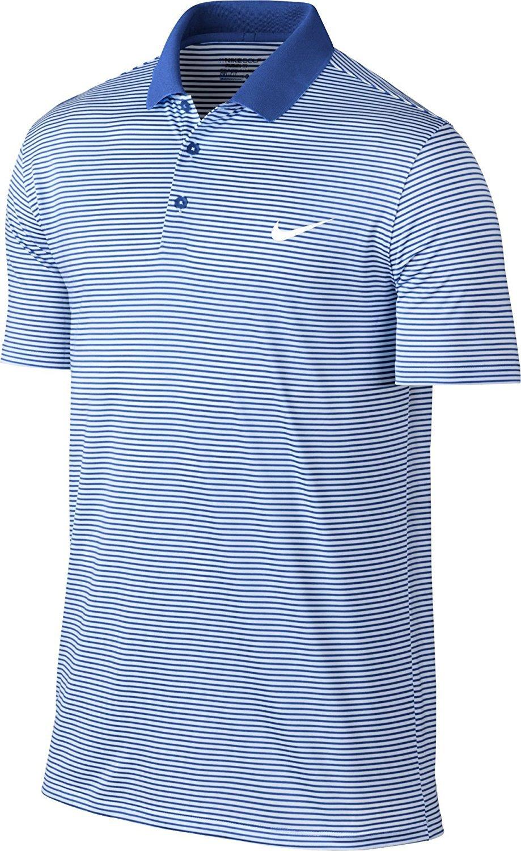 Nike 2016 Victory Mini Stripe Logo Chest Mens Golf Polo Shirt Game Royal/White Small