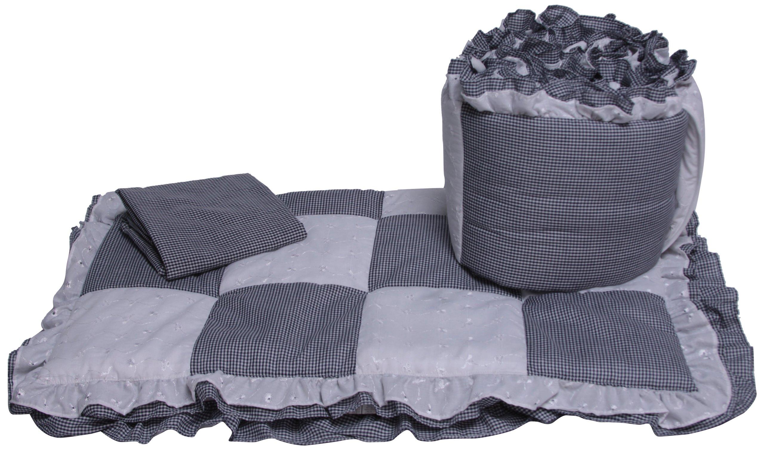 Baby Doll Bedding Gingham Cradle Bedding Set, Navy by BabyDoll Bedding