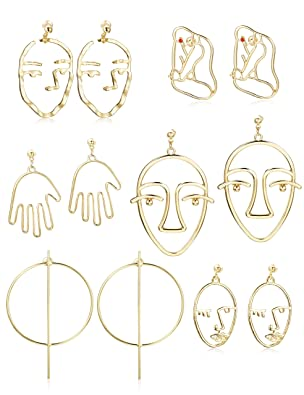 Thunaraz 6 Pairs Face Earring Set Geometric Modeling Dangle Hollow Face Hand Shape Drop Earring For Women Teens Girls by Thunaraz
