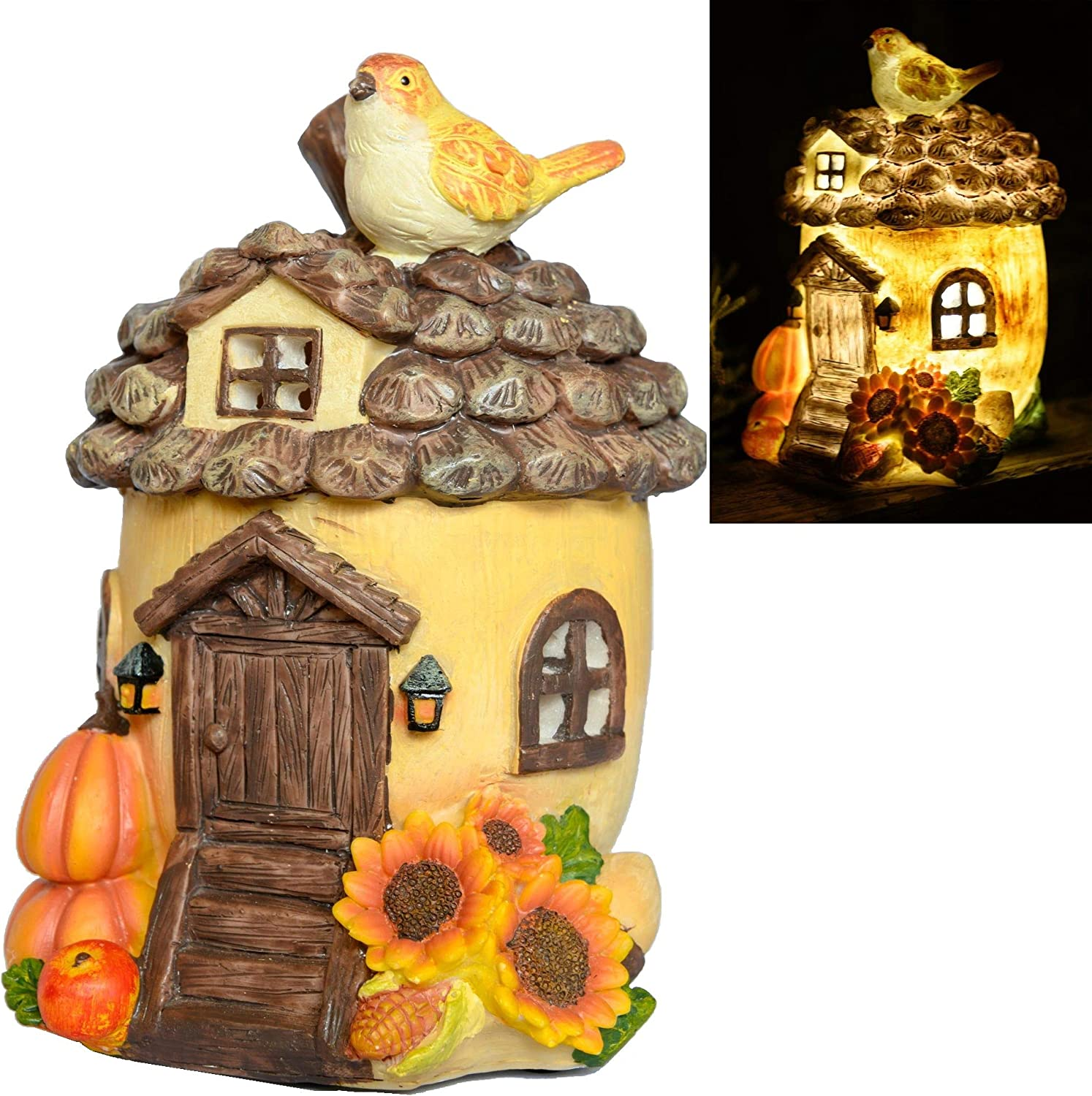 HV Hall View Products Large Solar Fairy House, Acorn Pumpkin and Sunflower Hand Painted with Solar Powered Led Illumination