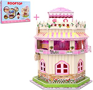 Rooftop Romance 3D Puzzle Dollhouse for Girls Easy to Assemble 3-D Miniature Doll House Building Kit with LED Light for Kids - Educational Paper Jigsaw Puzzles Perfect Craft Toys Gift 101 Pcs