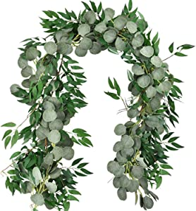 MiraiLife 6.5 Feet Artificial Eucalyptus Leaves Garland Faux Silver Dollar and Willow Vines Twigs Leaves Garland for Wedding Table Runner Garland Doorways Indoor Outdoor Greenery Garland (2 Pack)