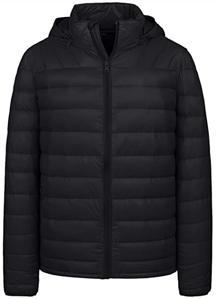 9e333b0e2 Wantdo Men's Winter Packable Lightweight Down Jacket Coat with Removable  Hood