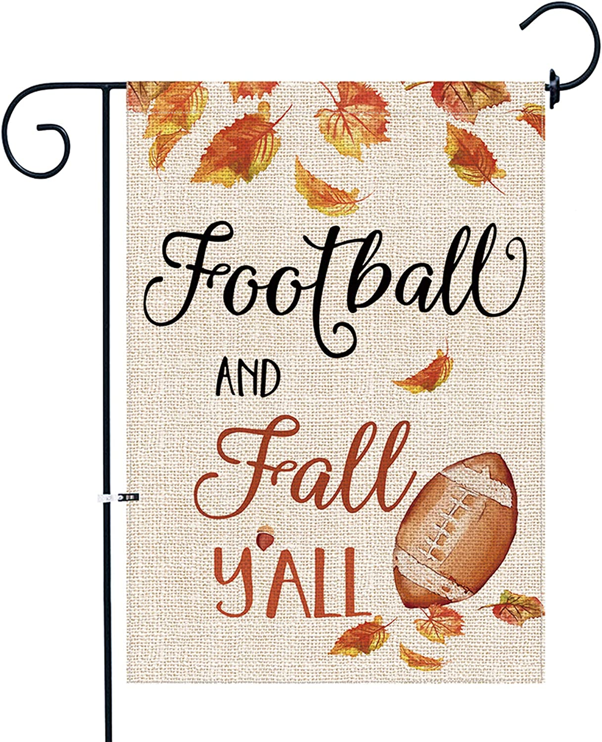 Bonsai Tree Fall Garden Flag, Double Sided Premium Burlap Football and Fall Y'all Flag 12x18 Inch for Yard Outdoor Decoration